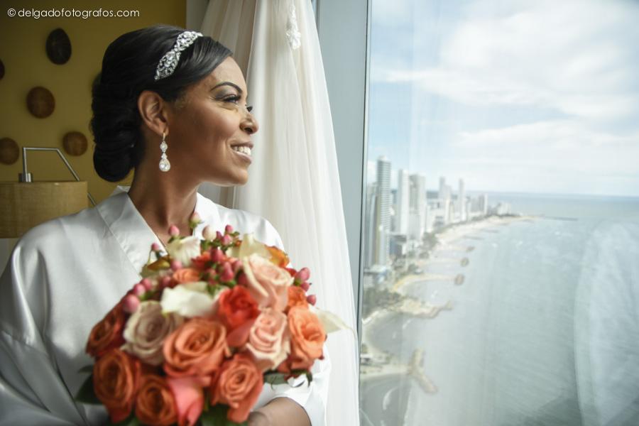Bride portrait in the Hyatt Cartagena Hotel.